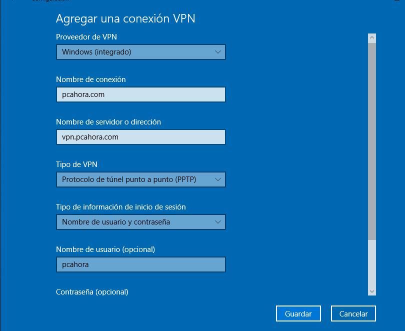 Crear una VPN en Windows 10