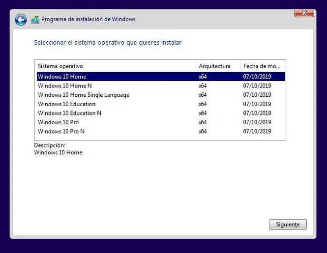 seleccionar la edición Windows 10