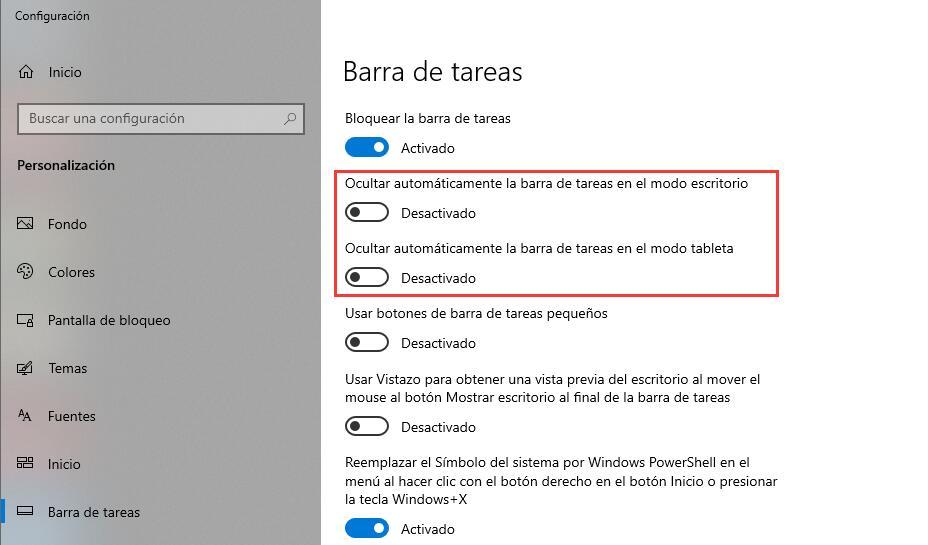Ocultar automáticamente la barra de tareas