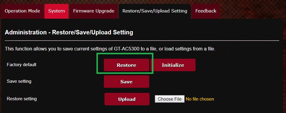 la interfaz web de un router Asus