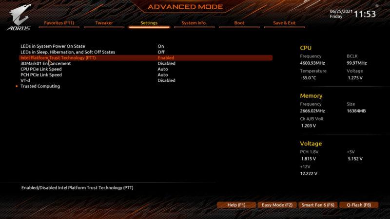 TPM 2.0 en el BIOS